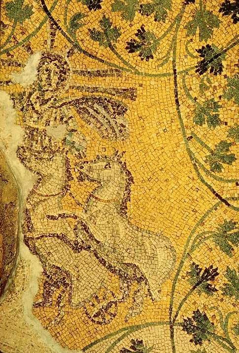 Christ avec une auréole et les attributs de Sol Invictus : chevaux cabrés. Mosaïque de la nécropole sous la basilique Saint-Pierre de Rome (Wikipédia)